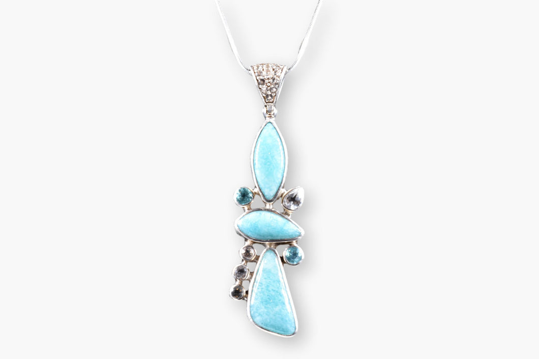 Turquoise, Blue Topaz, Crystal Pendant Necklace