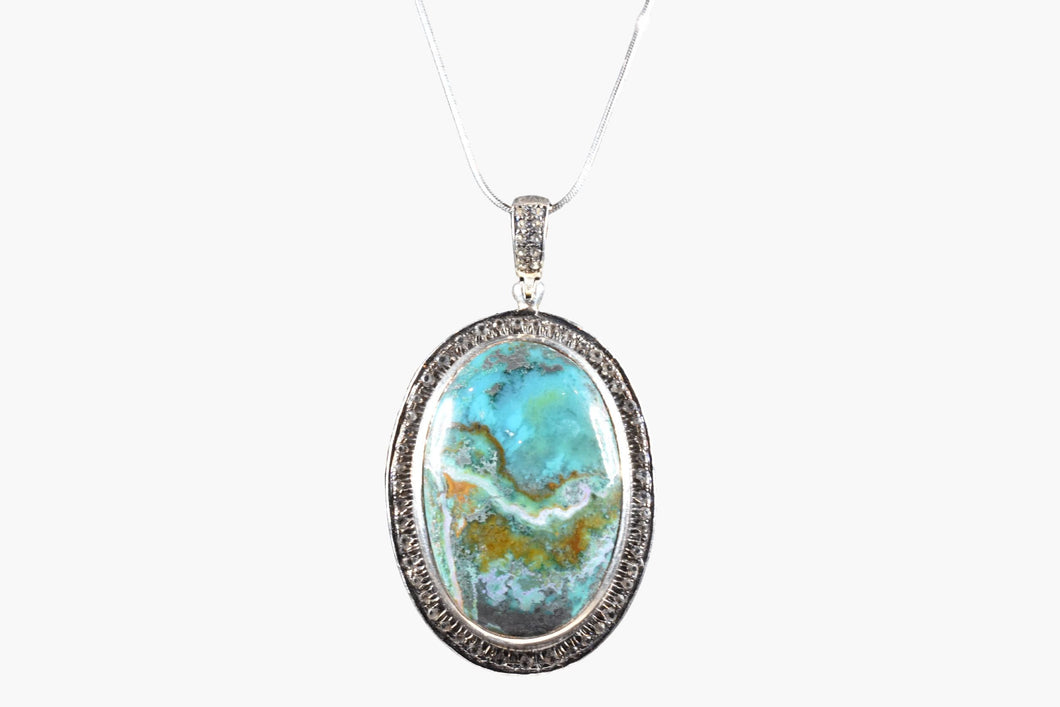 Chrysocolla Crystal Sterling Silver Pendant Necklace