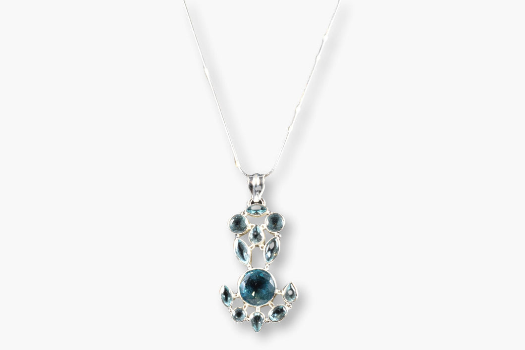 Blue Topaz & Aquamarine Pendant Necklace