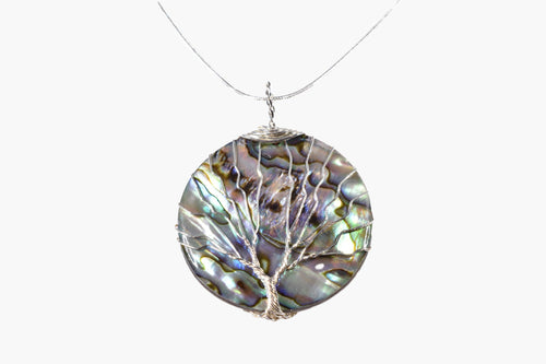 Abalone Shell Tree of Life Sterling Silver Pendant Necklace