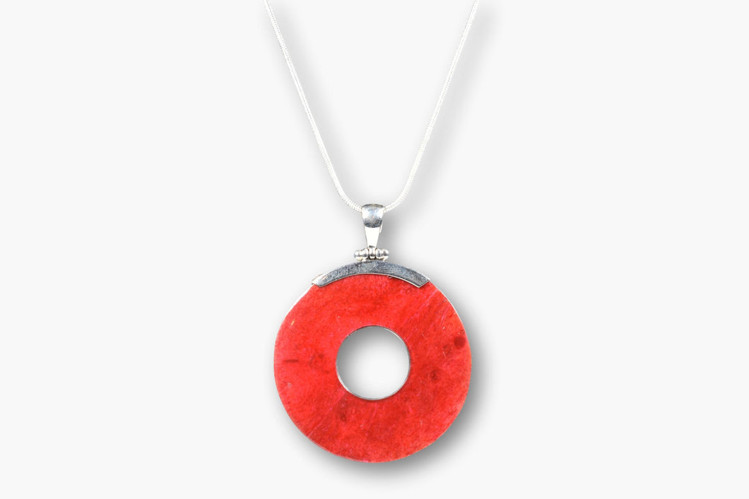 Red Coral Sterling Silver Pendant Necklace
