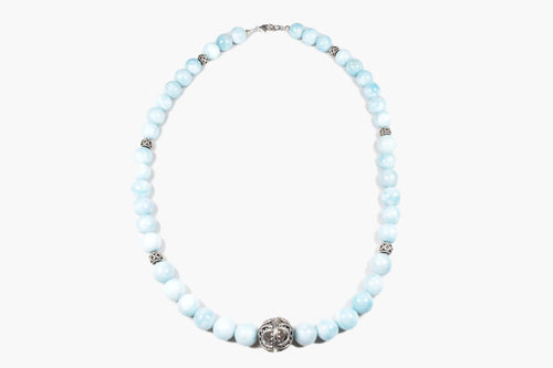 Larimar & Bali Silver Beaded Necklace