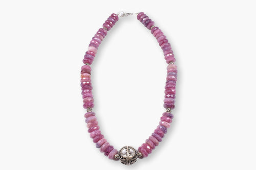 Raspberry Pink Bali Silver Rondelle Beaded Necklace