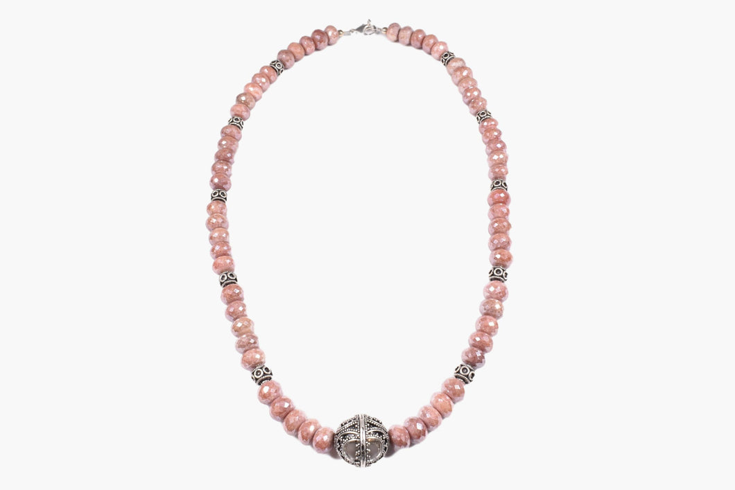 AB Chinese Crystal & Bali Silver Bead Necklace