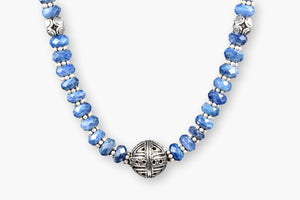 Sodalite Rondelle Bali Silver Beaded Necklace