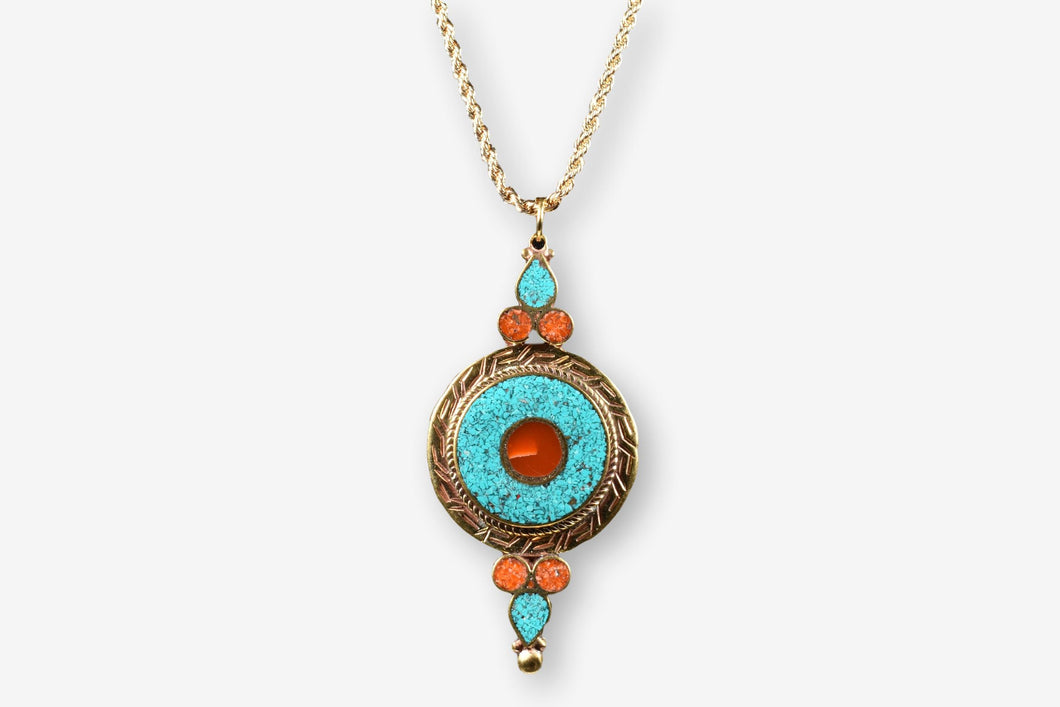 Turquoise Coral Brass Pendant Necklace