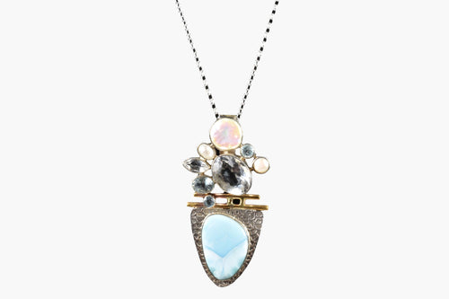 Larimar, Crystal, Aquamarine & Pearl Pendant Necklace
