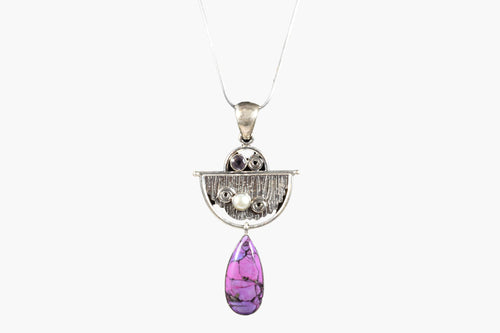 Charoite, Amethyst & Pearl Sterling Silver Pendant Necklace