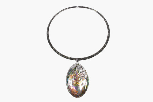 Abalone Shell Pendant Choker Necklace