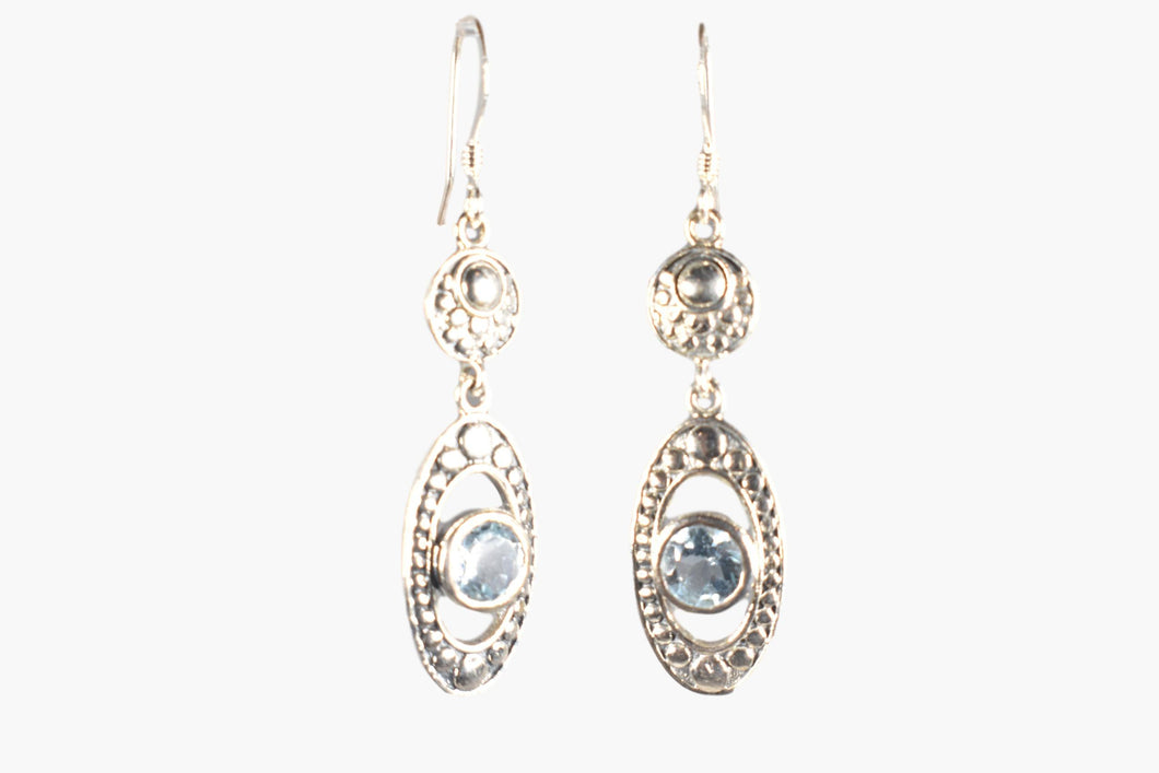 Aquamarine & Sterling Silver Drop Earrings