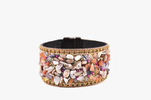 Semi-Precious Stone & Crystal Magnetic Band Bracelet