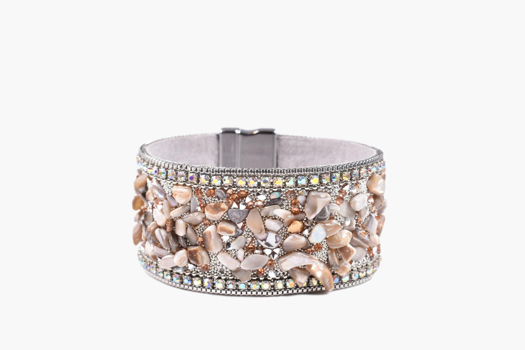 Natural Stone & Crystal Beaded Band Bracelet