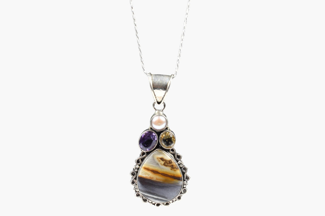 Tiger Jasper, Amethyst, Citrine, Fresh Water Pearl Pendant Necklace