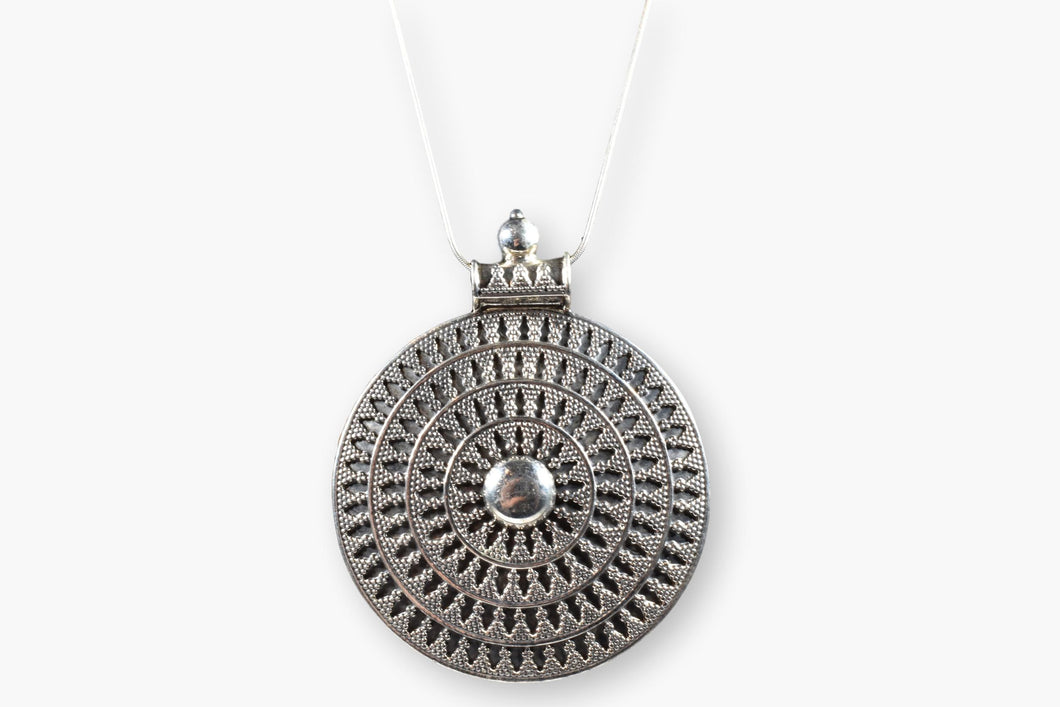 Silver Disk Pendant Necklace
