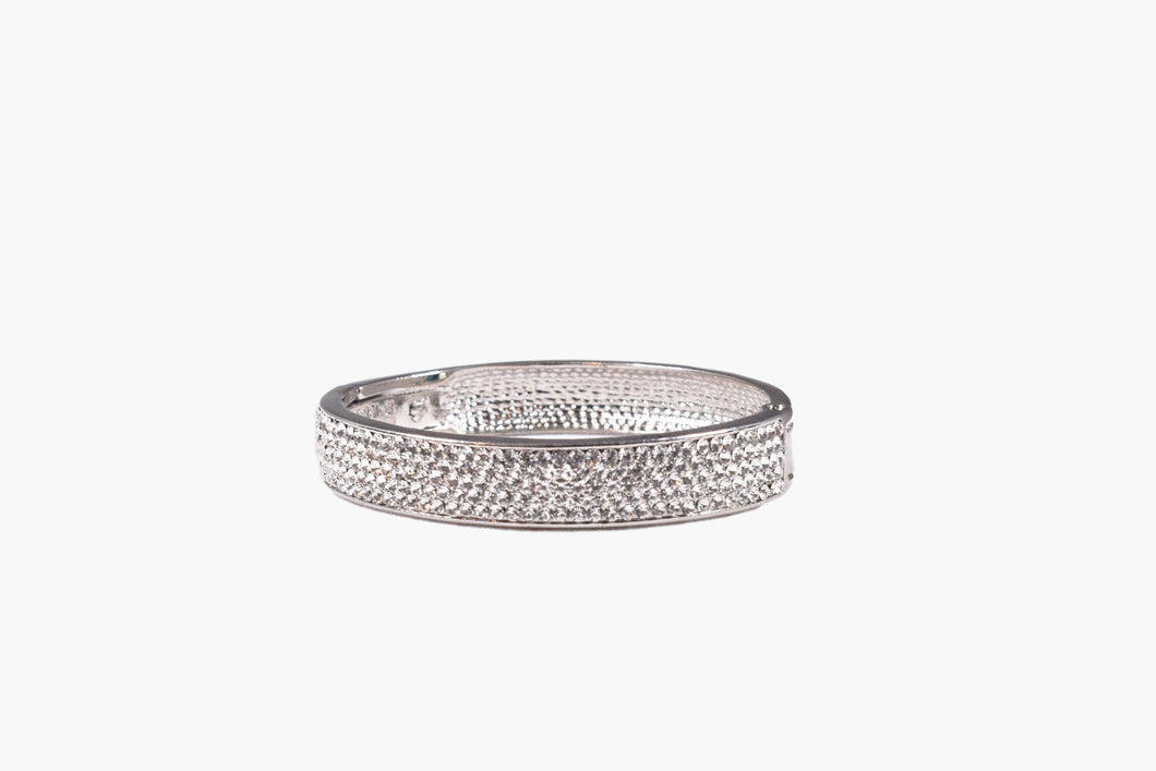 Crystal Rhinestone Silver Bangle Bracelet