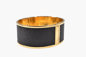 Designer Black Textured & Gold Bangle Bracelet