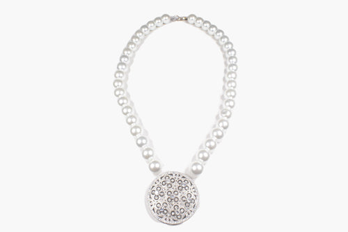Fresh Water Pearl & Crystal Silver Disk Pendant Necklace