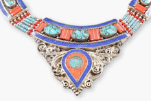 Load image into Gallery viewer, Tibetan Lapis, Turquoise, Coral & Silver Collar Necklace