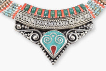 Load image into Gallery viewer, Tibetan Turquoise, Coral & Silver Collar Necklace