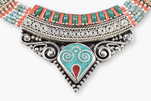 Tibetan Turquoise, Coral & Silver Collar Necklace