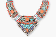 Load image into Gallery viewer, Tibetan Coral, Turquoise, Lapis & Silver Collar Necklace