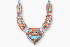 Tibetan Coral, Turquoise, Lapis & Silver Collar Necklace
