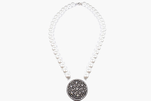 Fresh Water Pearl & Crystal Black Disk Pendant Necklace