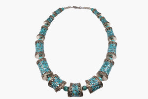 Turquoise Chip Barrel Bead Necklace