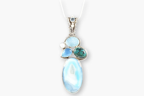 Blue Agate, Blue Topaz, Chrysocolla, Druzy, Fresh Water Pearl & Tourmaline Sterling Silver Pendant Necklace