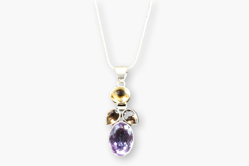 Amethyst, Citrine & Smoky Quartz Sterling Silver Pendant Necklace