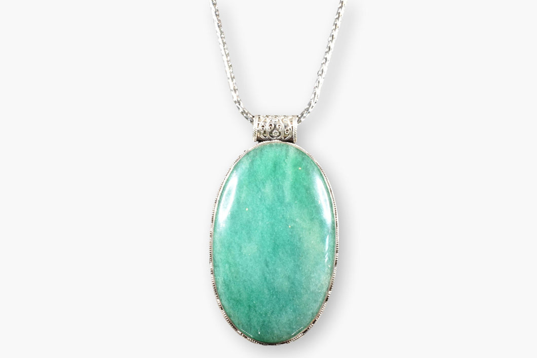 Korean Green Jade Pendant Necklace