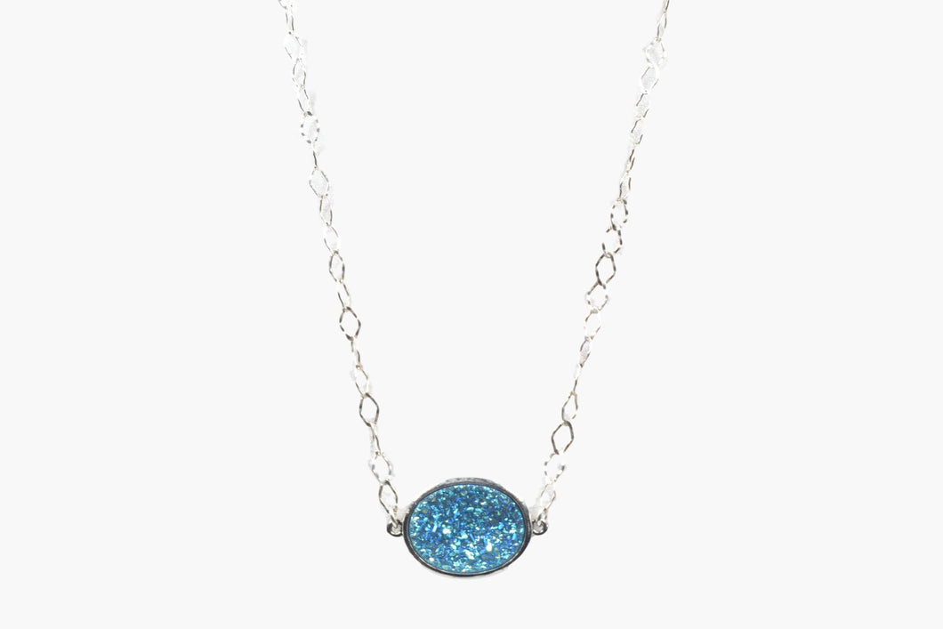 Designer Blue Crystal Druzy Choker Necklace
