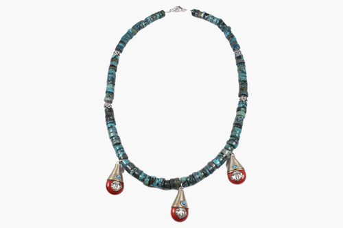 Turquoise Coral Beaded Necklace
