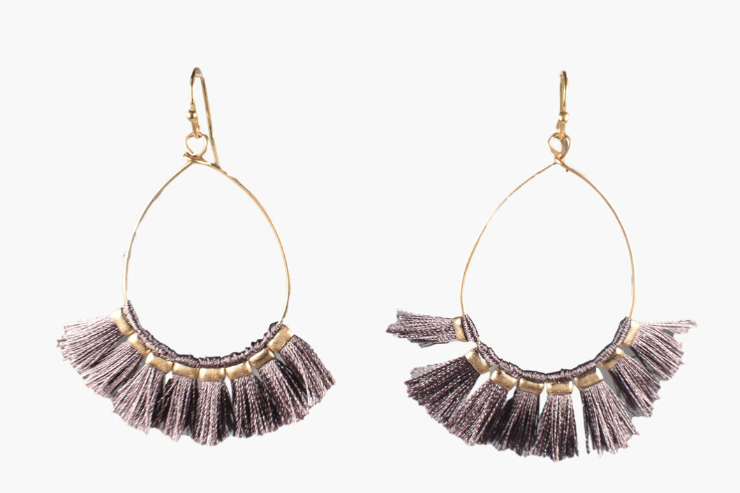 Taupe Brown Flare Drop Earrings