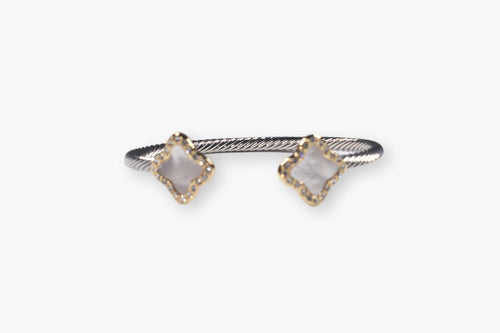 Mother-of-Pearl & Crystal Twist Cuff Bracelet