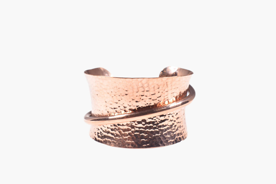 Hammered Copper Wide Cuff Bracelet