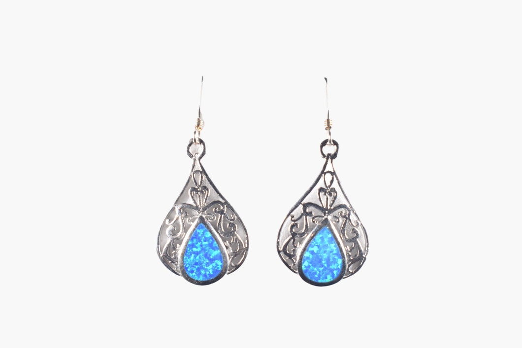 Blue Hawaiian Opal & Sterling Silver Drop Earrings