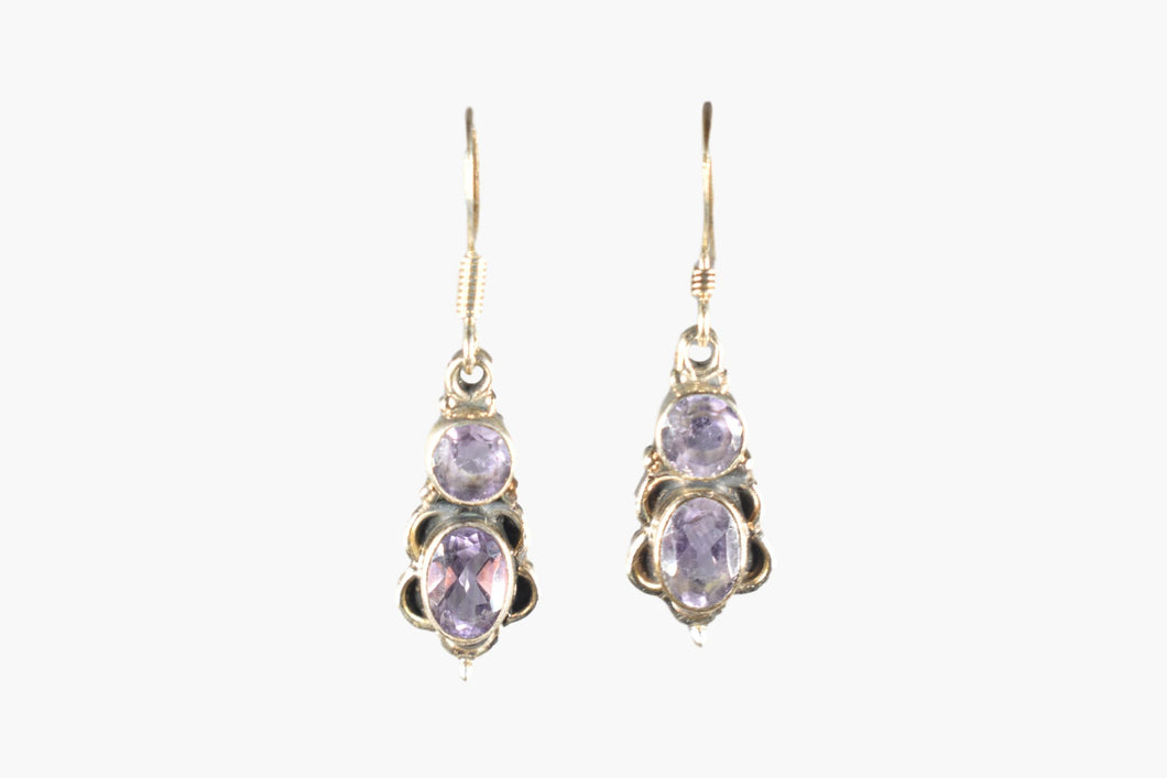 Amethyst & Sterling Silver Drop Earrings