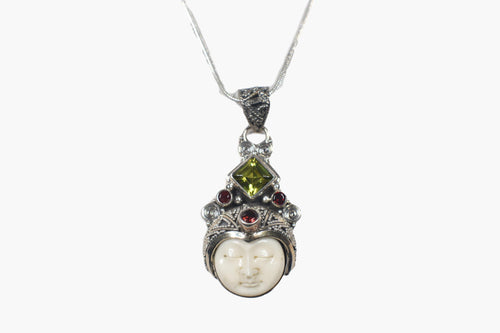 Exotic Carved Serene Face of Bone, Peridot & Garnet Sterling Silver Pendant Necklace