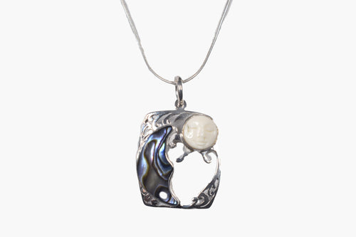Exotic Crescent Moon & Carved Sun Bone & Abalone Sterling Silver Pendant Necklace