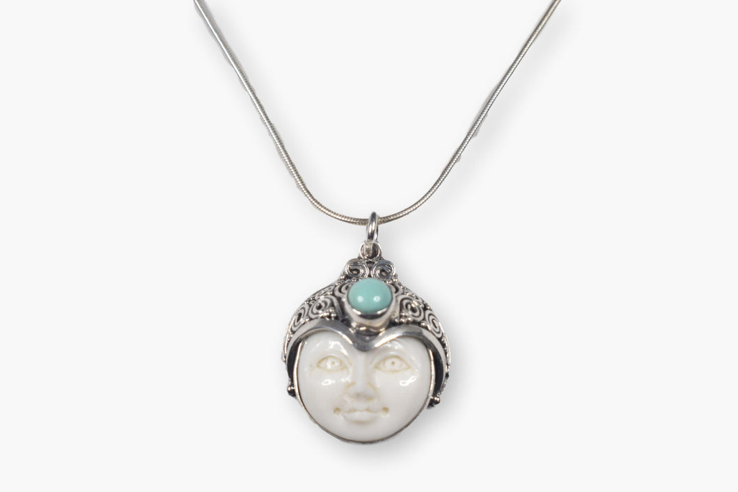 Exotic Carved Whimsical Face Bone Turquoise Sterling Silver Pendant Necklace