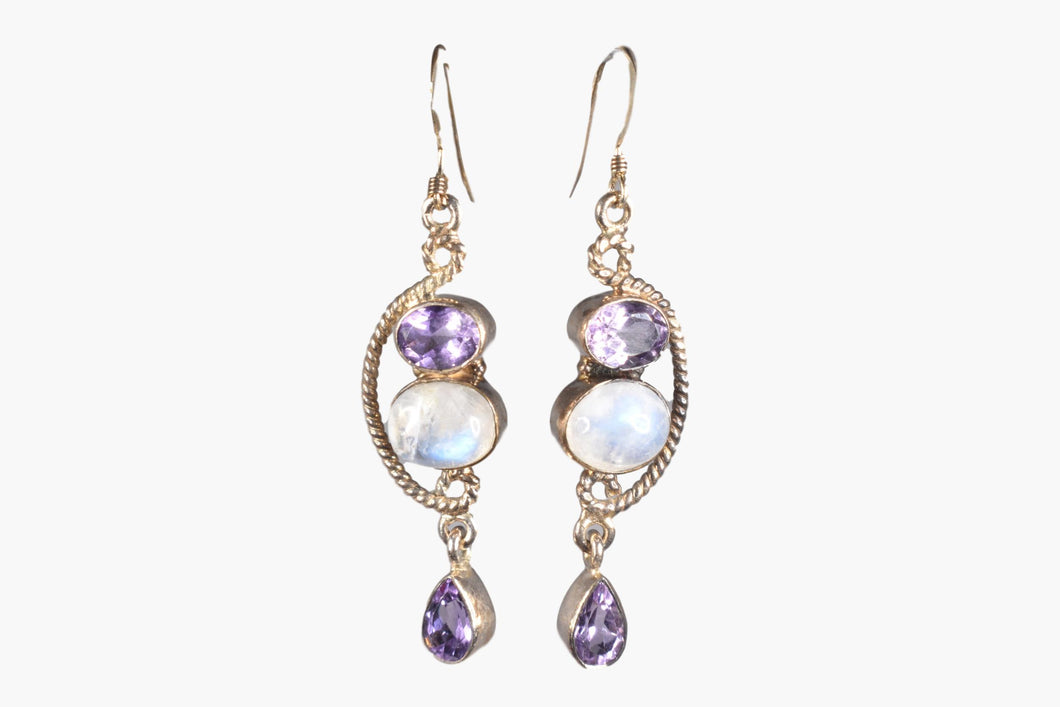 Amethyst & Moonstone Sterling Silver Drop Earrings