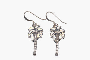 Mother-of-Pearl & Sterling Silver Palm Tree Drop Earrings