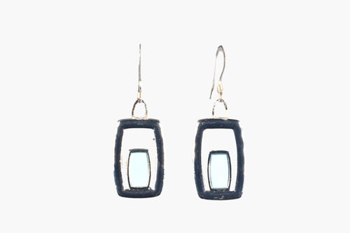 Silver & Blue Enamel Drop Earrings