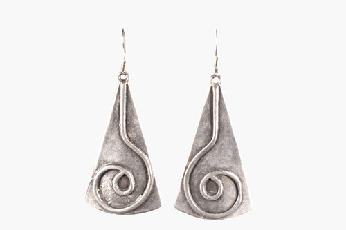Silver Geometric Design Drop Earrings