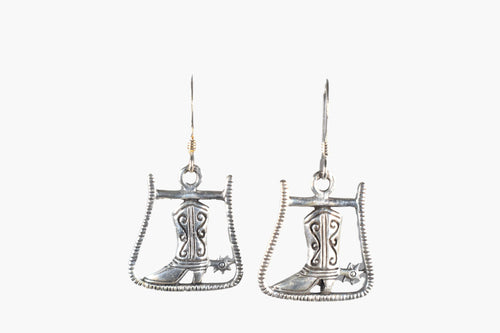 Sterling Silver Western Boot Drop Earrings