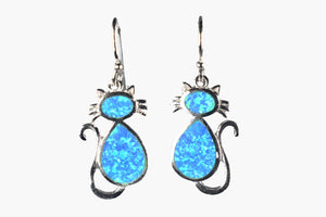 Hawaiian Blue Opal Sterling Silver Cat Drop Earrings