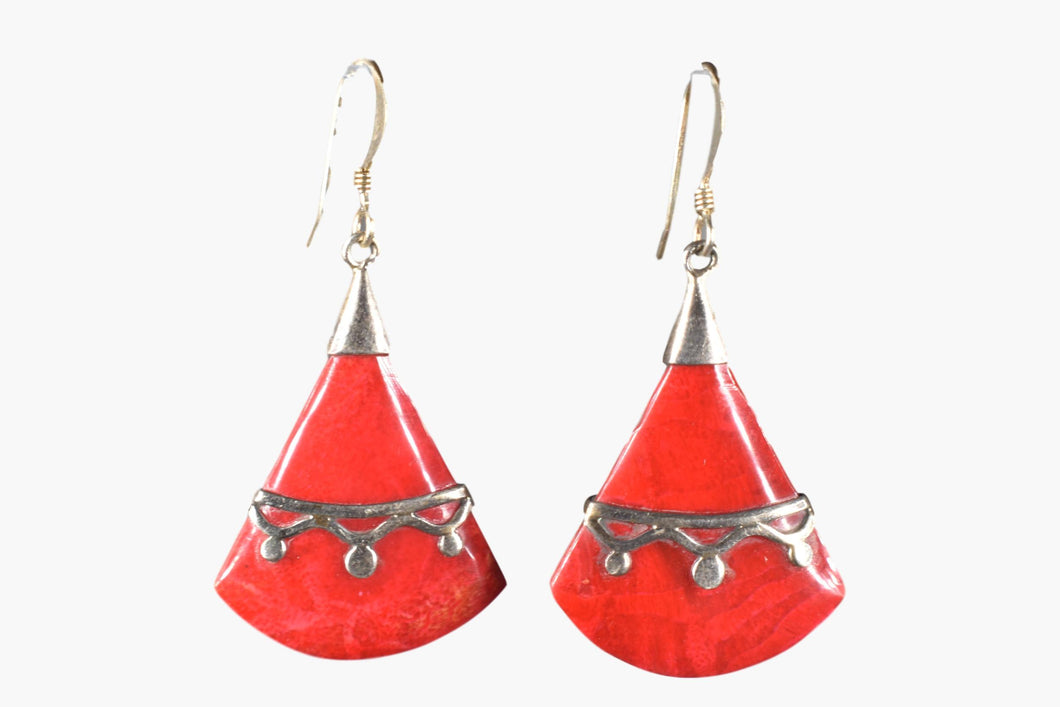 Red Coral & Sterling Silver Drop Earrings