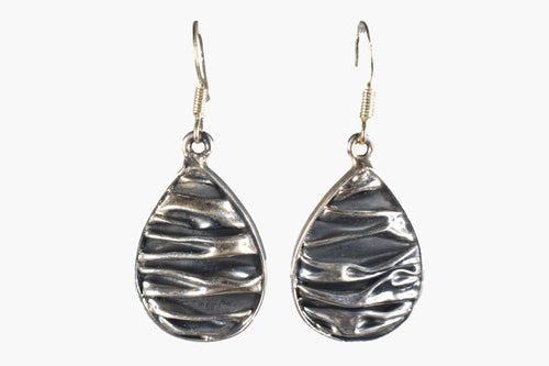 Scrunched Sterling Silver Drop Earrings