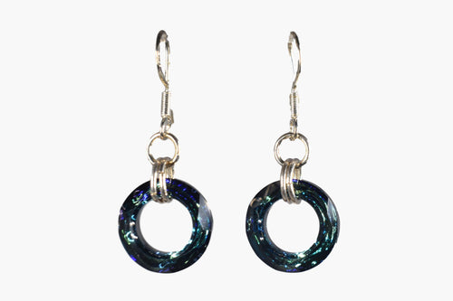 Blue Cut Crystal Ring Drop Earrings